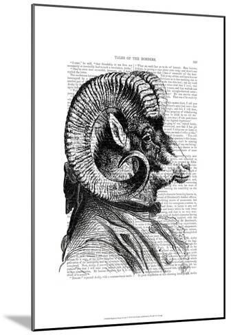 Bighorn Sheep In Suit-Fab Funky-Mounted Art Print