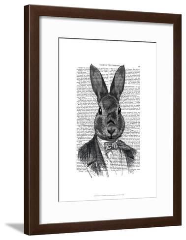 Rabbit In Suit Portrait-Fab Funky-Framed Art Print
