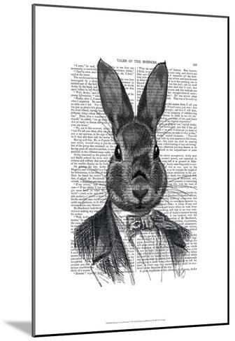 Rabbit In Suit Portrait-Fab Funky-Mounted Art Print
