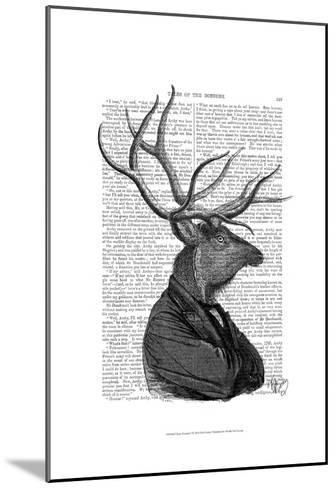 Deer Portrait 1-Fab Funky-Mounted Art Print