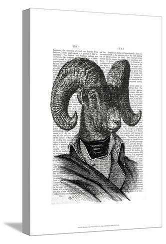Mountain Goat Portrait-Fab Funky-Stretched Canvas Print