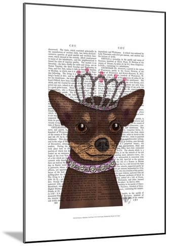 Brown Chihuahua And Tiara-Fab Funky-Mounted Art Print