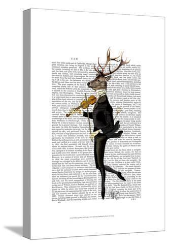 Dancing Deer with Violin-Fab Funky-Stretched Canvas Print