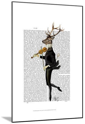 Dancing Deer with Violin-Fab Funky-Mounted Art Print