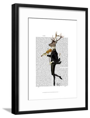 Dancing Deer with Violin-Fab Funky-Framed Art Print