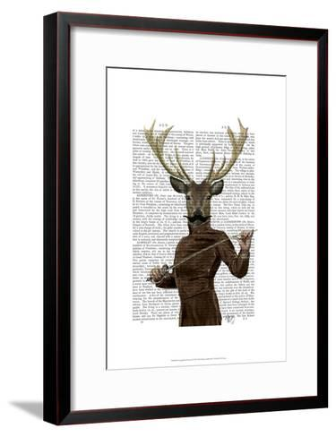 Fencing Deer Portrait-Fab Funky-Framed Art Print