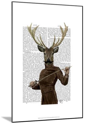 Fencing Deer Portrait-Fab Funky-Mounted Art Print