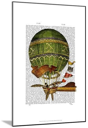 Hot Air Balloon Green-Fab Funky-Mounted Art Print