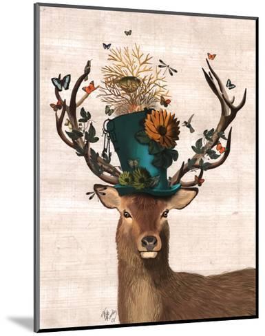 Mad Hatter Deer-Fab Funky-Mounted Art Print