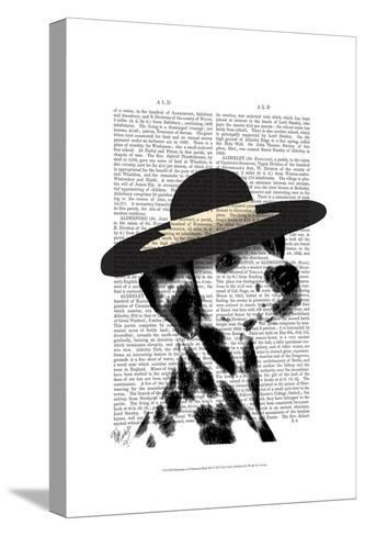 Dalmatian and Brimmed Black Hat-Fab Funky-Stretched Canvas Print