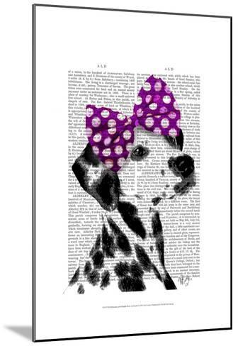 Dalmatian with Purple Bow on Head-Fab Funky-Mounted Art Print