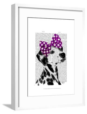 Dalmatian with Purple Bow on Head-Fab Funky-Framed Art Print