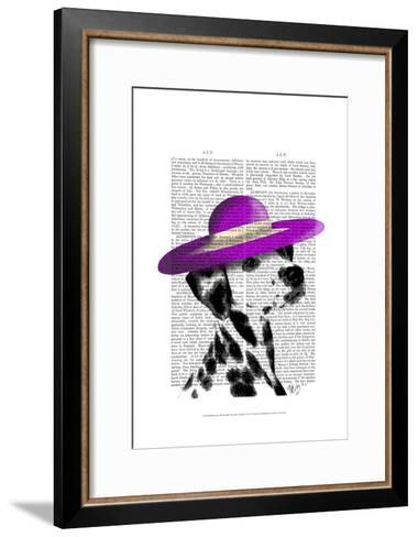Dalmatian With Purple Wide Brimmed Hat-Fab Funky-Framed Art Print