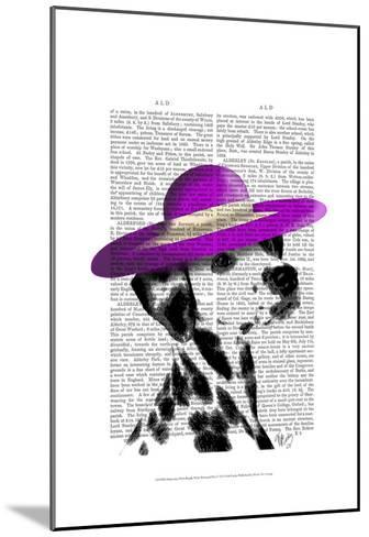Dalmatian With Purple Wide Brimmed Hat-Fab Funky-Mounted Art Print
