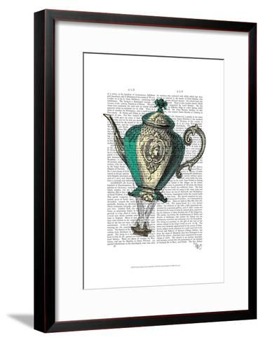 Flying Teapot 1 Green and Yellow-Fab Funky-Framed Art Print