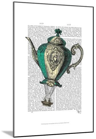 Flying Teapot 1 Green and Yellow-Fab Funky-Mounted Art Print