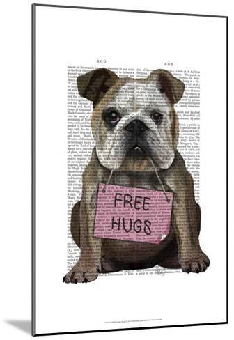 Bulldog Free Hugs-Fab Funky-Mounted Art Print