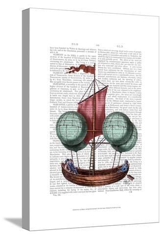 Hot Air Balloon Airship With Red Sail-Fab Funky-Stretched Canvas Print