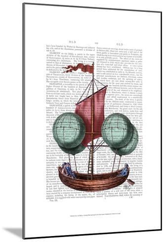 Hot Air Balloon Airship With Red Sail-Fab Funky-Mounted Art Print