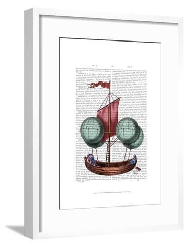 Hot Air Balloon Airship With Red Sail-Fab Funky-Framed Art Print