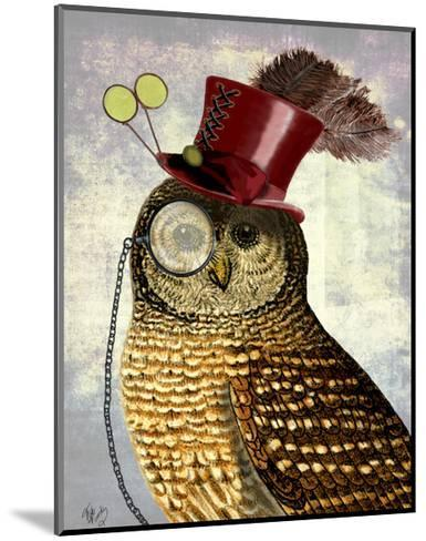 Owl With Top Hat-Fab Funky-Mounted Art Print