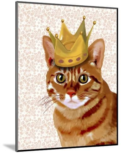 Ginger Cat with Crown Portrait-Fab Funky-Mounted Art Print