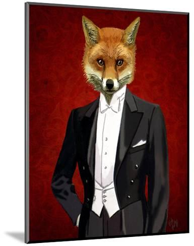 Fox In Evening Suit Portrait-Fab Funky-Mounted Art Print