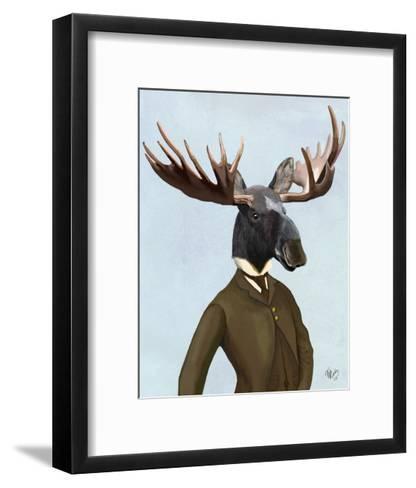 Moose In Suit Portrait-Fab Funky-Framed Art Print