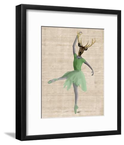 Ballet Deer in Green-Fab Funky-Framed Art Print