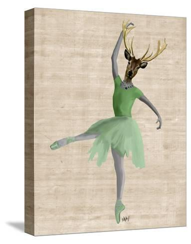 Ballet Deer in Green-Fab Funky-Stretched Canvas Print