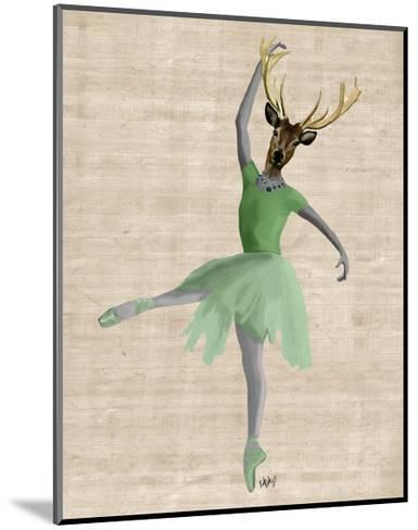 Ballet Deer in Green-Fab Funky-Mounted Art Print