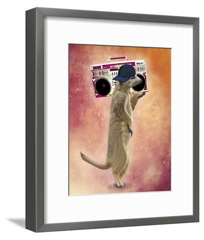 Meerkat and Boom Box-Fab Funky-Framed Art Print