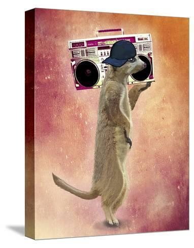 Meerkat and Boom Box-Fab Funky-Stretched Canvas Print