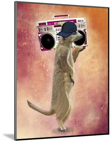 Meerkat and Boom Box-Fab Funky-Mounted Art Print