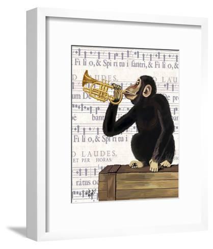 Monkey Playing Trumpet-Fab Funky-Framed Art Print