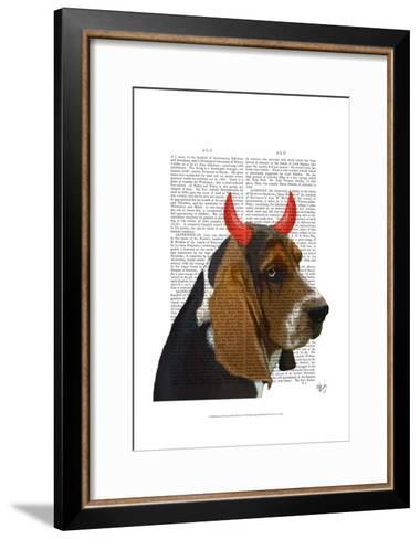 Basset Hound and Devil Horns-Fab Funky-Framed Art Print