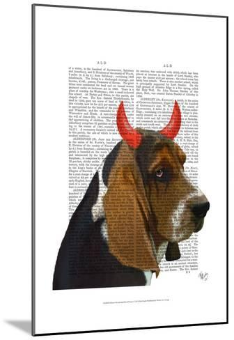 Basset Hound and Devil Horns-Fab Funky-Mounted Art Print