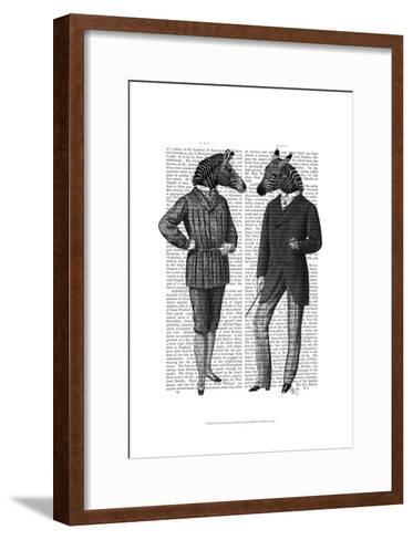Two Zebra Gentlemen-Fab Funky-Framed Art Print