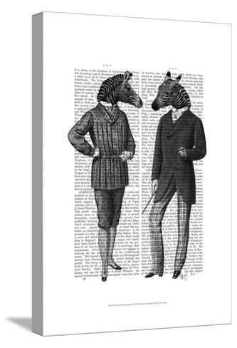Two Zebra Gentlemen-Fab Funky-Stretched Canvas Print