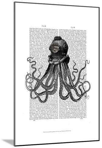 Octopus and Diving Helmet-Fab Funky-Mounted Art Print