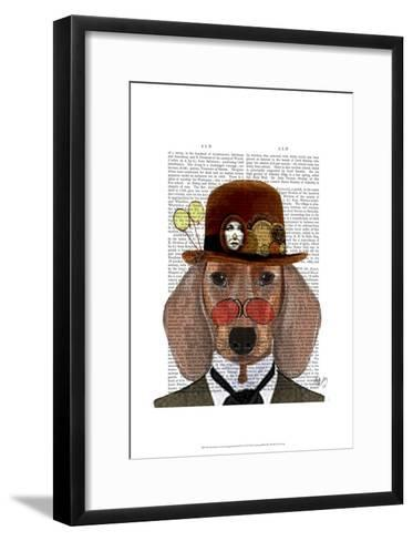 Dachshund with Steampunk Bowler Hat-Fab Funky-Framed Art Print