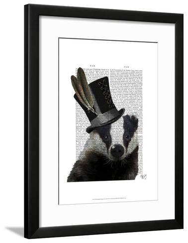Steampunk Badger in Top Hat-Fab Funky-Framed Art Print
