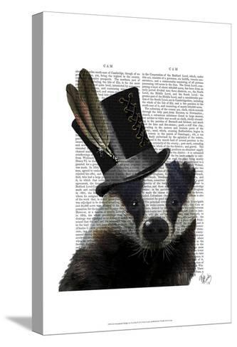 Steampunk Badger in Top Hat-Fab Funky-Stretched Canvas Print