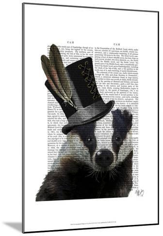 Steampunk Badger in Top Hat-Fab Funky-Mounted Art Print