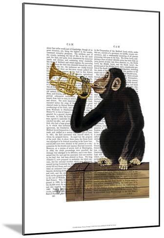 Monkey Playing Trumpet-Fab Funky-Mounted Art Print