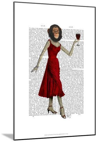 Chimp With Wine-Fab Funky-Mounted Art Print