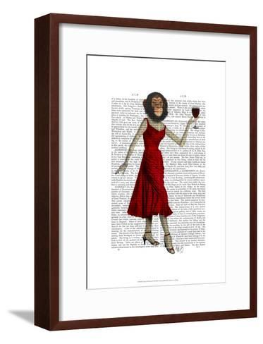 Chimp With Wine-Fab Funky-Framed Art Print