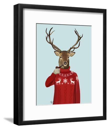 Deer in Ski Sweater-Fab Funky-Framed Art Print
