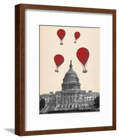 US Capitol Building and Red Hot Air Balloons-Fab Funky-Framed Art Print