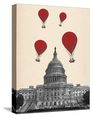US Capitol Building and Red Hot Air Balloons-Fab Funky-Stretched Canvas Print